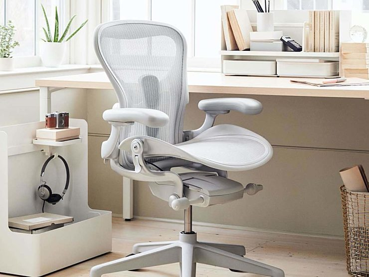 herman miller aeron chair organized desk office furniture