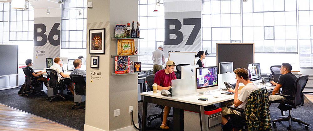 open plan office boston workstations individual workspace tech design company