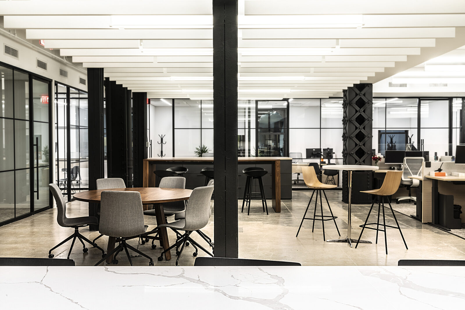 New York City Office Real Estate Client Meeting Cafe Area Breakout Collaboration in Open Plan Office