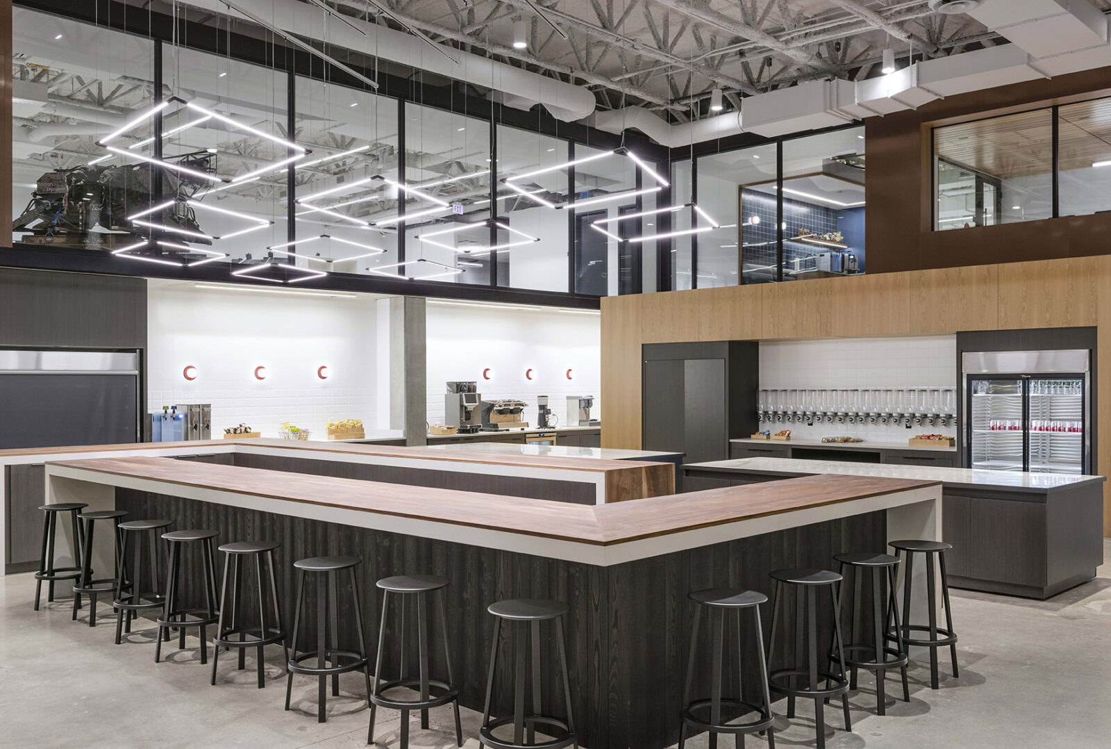Boston Dynamics Cafe Coffee Bar and Seating Area Waltham MA by Creative Office Pavilion New England