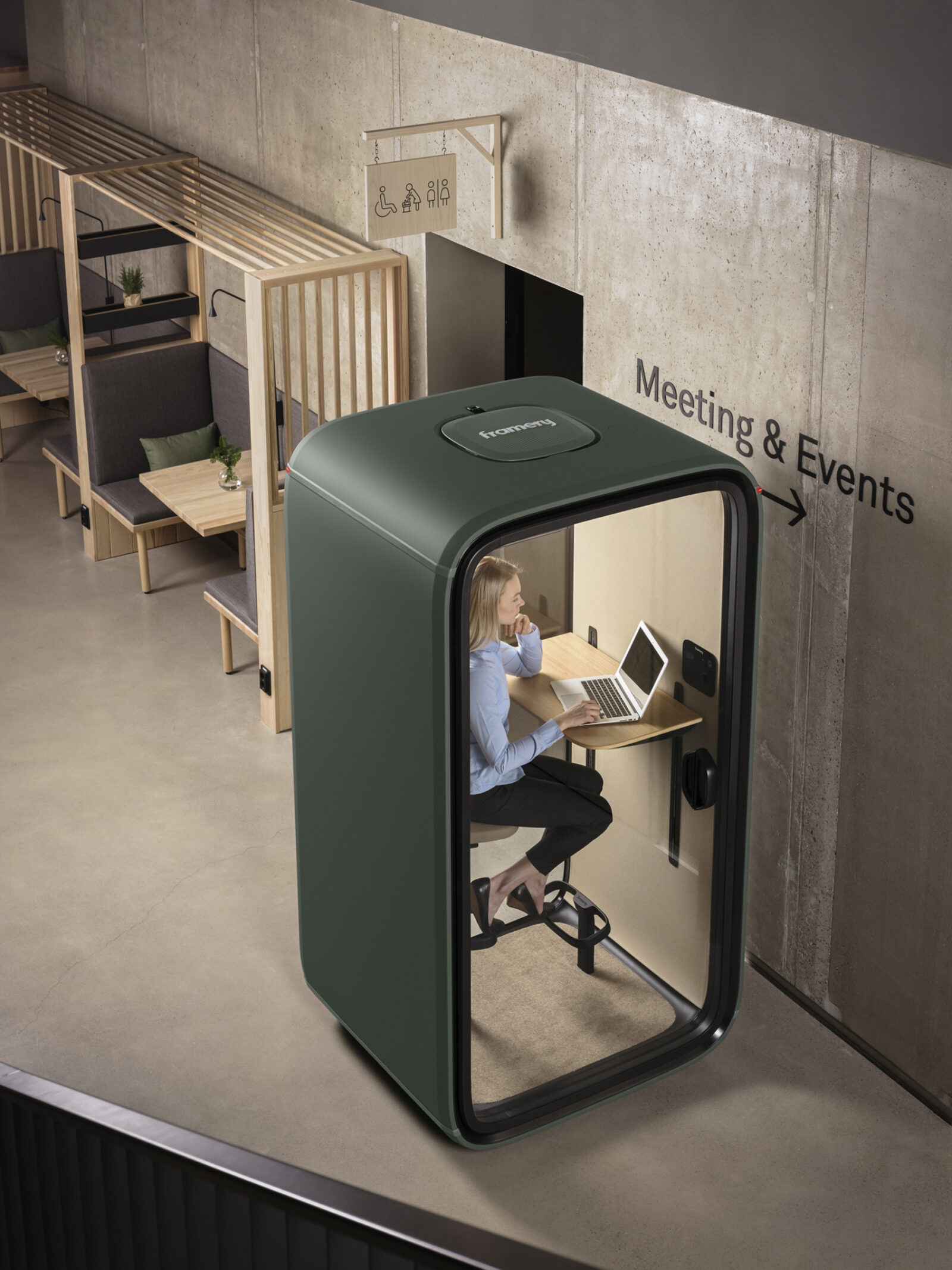Framery office soundproof phone booth, privacy pod, soundproof booth, solo pod, connected pod vermont providence