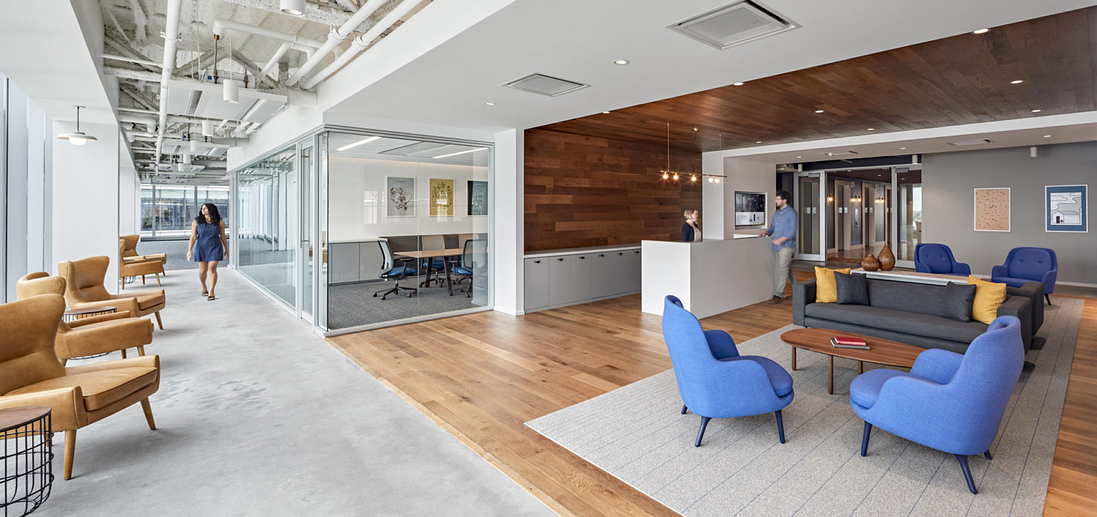 Commercial office space, lobby reception boston workplace