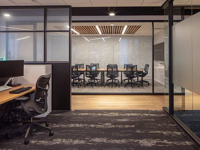 Commercial design, conference room and desks Boston real estate project