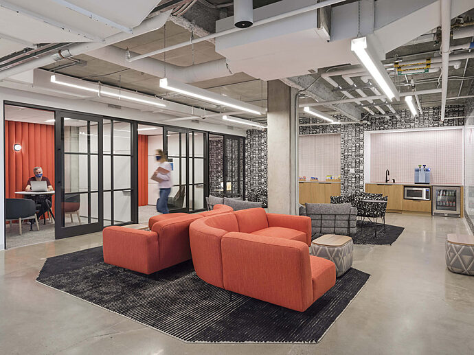 Creative Office Pavilion Boston Dynamics Lounge area with meeting and huddle rooms to support collaboration
